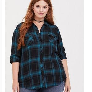 TORRID Blue/Black Plaid Camp Shirt Button Down 3X